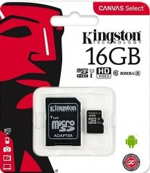 Карта памяти microSDHC 16GB KINGSTON UHS-I + адаптер