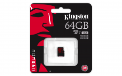 Карта памяти microSDXC 64GB KINGSTON UHS-I + адаптер